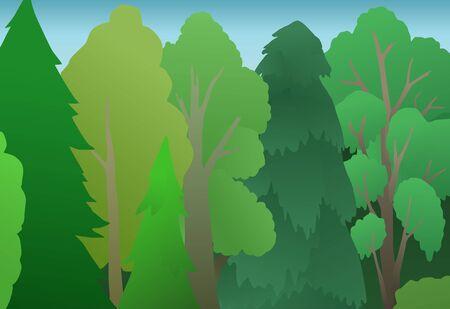 Forest tree wall, vector cartoon color illustration, horizontal