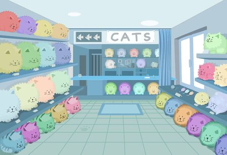 Cat shop room scene, strange humorous vector cartoon color illustration, horizontal