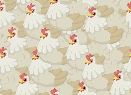 Chickens cartoon seamless texture pattern