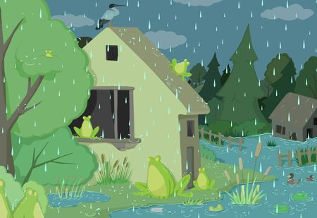 Rainy day frogs scene, strange humorous vector cartoon color illustration, horizontal