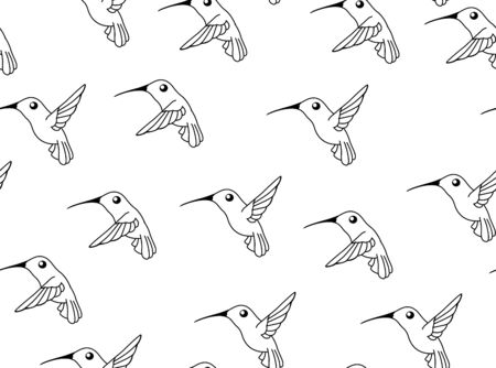 Hummingbird line drawings, seamless texture pattern, vector illustration black and white, horizontal background