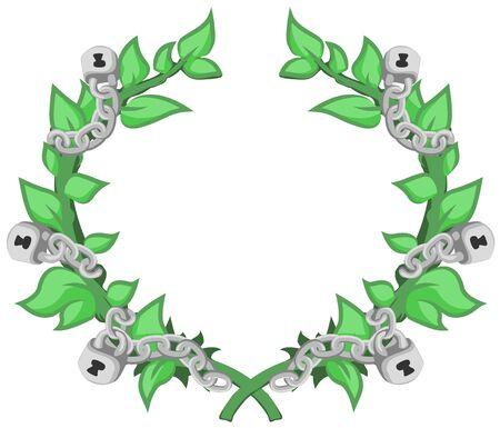 Laurel wreath chained cartoon design element, vector illustration, horizontal, isolated
