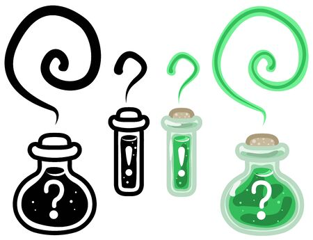 Mystery potion bottle cartoon design element, isolated vector, horizontal Vectores