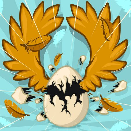 Hatching egg with wings cartoon color vector illustration, horizontal