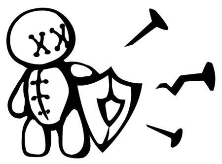 Voodoo doll shield stencil black, vector illustration, horizontal, isolated