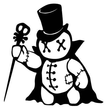 Voodoo doll top hat conjurer stencil black, vector illustration, horizontal, isolated