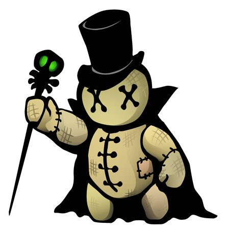 Voodoo doll top hat conjurer cartoon character, color vector illustration, horizontal, isolated