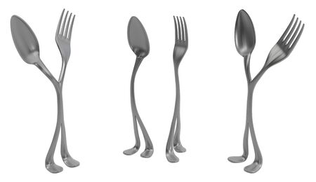 Fork and spoon metal with legs pair choice, 3d illustration, horizontal, isolated, over white