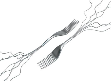 Forks opposite metal root wires, 3d illustration, horizontal, isolated, over white