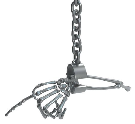 Skeleton arm pointing hanging from metal shackle, isolated, 3d illustration, horizontal, over white