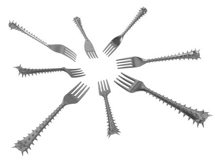 Fork handle covered in sharp spikes, eight in circle, metaphor 3d illustration, horizontal, isolated, over white