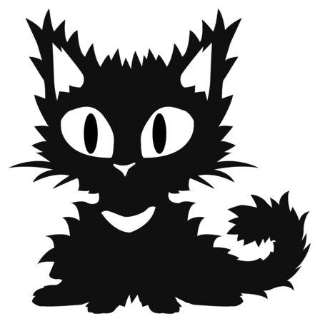 Cat cartoon character fuzzy kitten stencil black, vector illustration, vertical, isolated