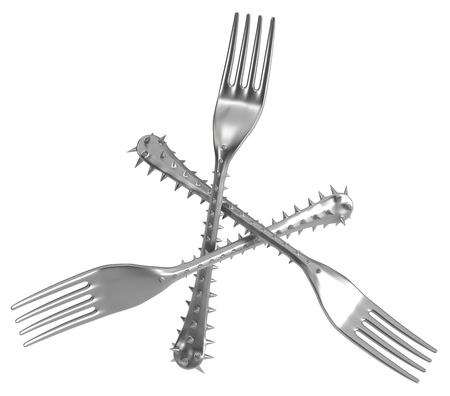 Fork handle covered in sharp spikes triangle shape, metaphor 3d illustration, horizontal, isolated, over white Stock Photo