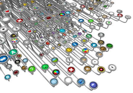 Typewriter mixed symbol buttons array, 3d illustration, horizontal