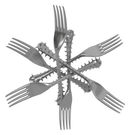 Fork handle covered in sharp spikes group shape six points, metaphor 3d illustration, horizontal, isolated, over white
