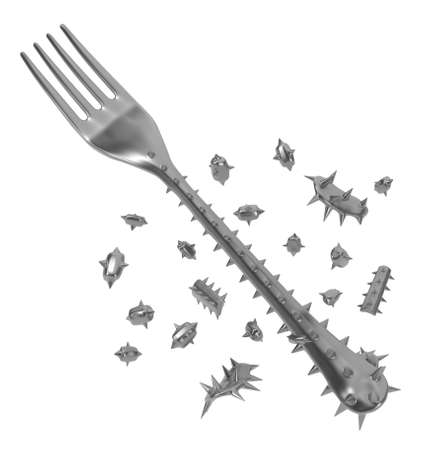 Fork handle covered in sharp spikes among fragments, metaphor 3d illustration, horizontal, isolated, over white 스톡 콘텐츠