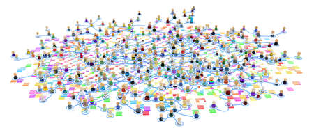 Crowd of small symbolic 3d figures linked by lines, complex layered system, color bits squares, over white, horizontal, isolated Reklamní fotografie