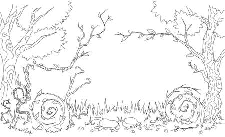 Nature car form cartoon line drawing, vector, horizontal, black and white