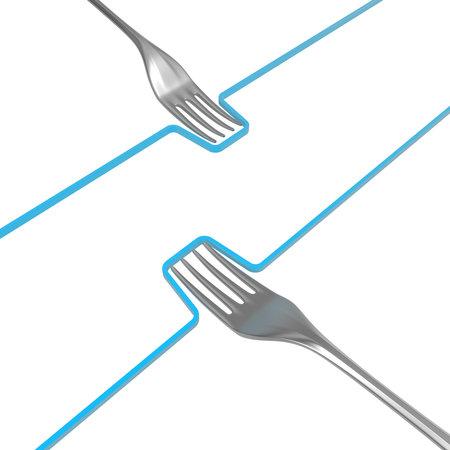 Fork metal line push inward, 3d illustration, horizontal, isolated, over white