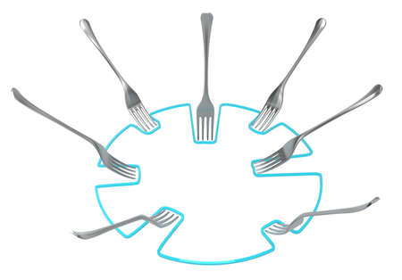 Fork metal line circle nudge, 3d illustration, horizontal, isolated, over white