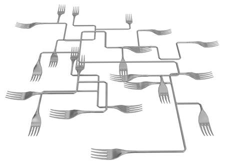 Fork metal complex intersecting system abstract, 3d illustration, horizontal, isolated, over white