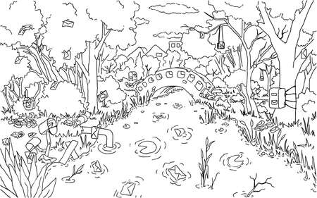 Mail pond surreal park scene line drawing background, vector, horizontal, black and white 向量圖像