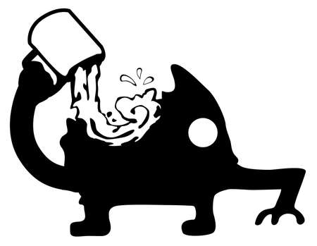 Chugging drink from cup greedily figure silhouette stencil black, vector illustration, horizontal, over white, isolated
