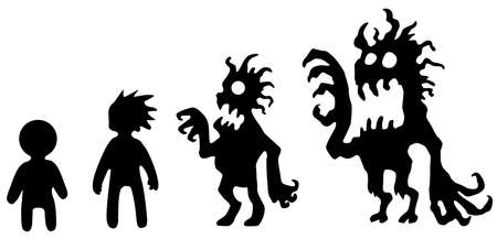 Corrupting identity figure silhouette stencil black, vector illustration, horizontal, over white, isolated 向量圖像