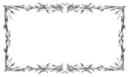 Forks merged metal, large rectangular frame construction, 3d illustration, horizontal, isolated, over white