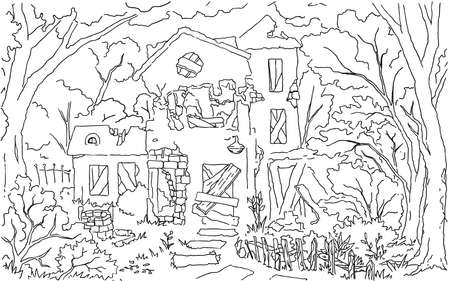 Old dilapidated house scene line drawing background, vector, horizontal, black and white