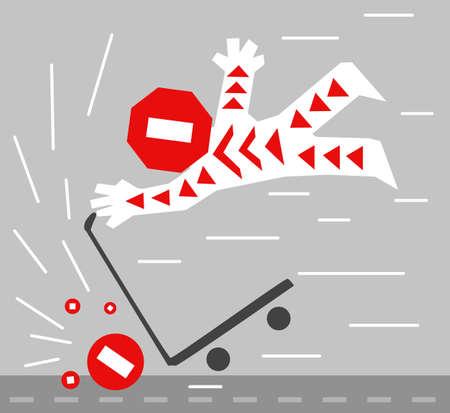 Scooter hazard crash stop cartoon color vector illustration, horizontal