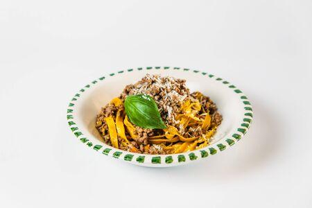 Italian cuisine dish tagliatelle bolognese pasta isolated, horizontal