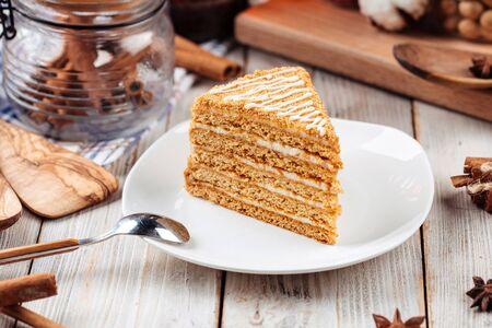 Sweet dessert slice of honey cake on a plate, horizontal