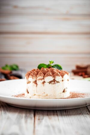 Gourmet sponge cake with chocolate sprinkles and mint, vertical Фото со стока