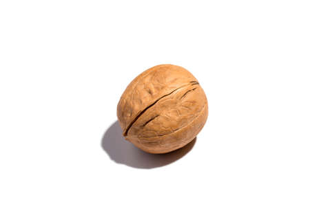 Closeup on isolated walnut in shell on the white background