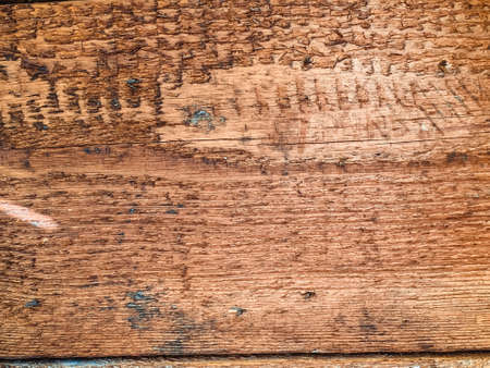 Closeup on old damaged wooden boards wall texture background