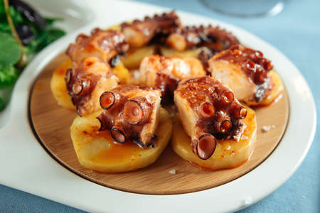 Closeup on spanish national dish octopus in galician