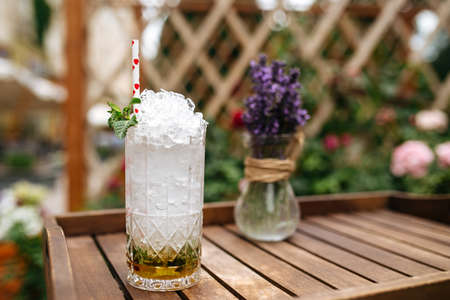 Fresh mojito cocktail with crushed ice on the wooden tray with blurry background Фото со стока