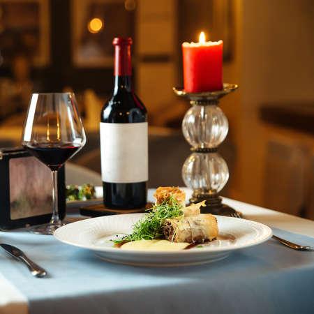 Side view on spanish cuisine dish rabo de toro oxtail stewed in wine
