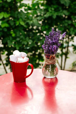 Hot beverage with toasted marshmallows in red mug on red table decorated with lavander in vase Фото со стока - 156429980