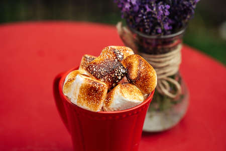 Closeup on beverage with toasted marshmallows in red mug on red table decorated with lavander in vase Фото со стока - 156429604