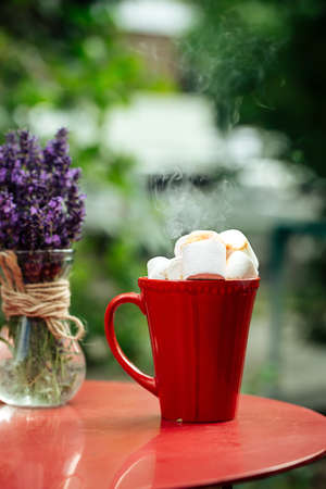 Hot beverage with toasted marshmallows in red mug on red table decorated with lavander in vase Фото со стока - 156506569