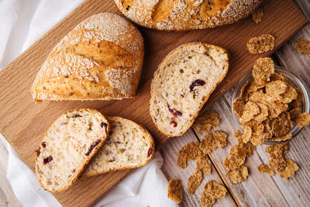 Top view on sliced muesli cereal bread