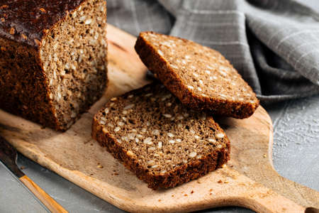 Sliced rye whole grain bread with seeds