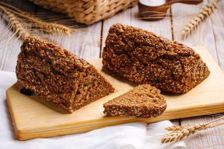 Closeup on sliced flourless diet grain bread