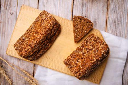 Top view on sliced flourless diet grain bread