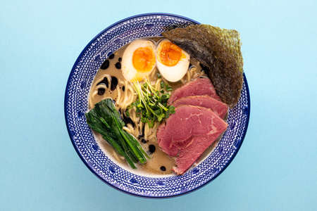 Tori paitan ramen soup with pastrami and eggs