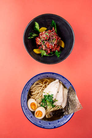 Shio ramen noodle soup and asian spicy chicken