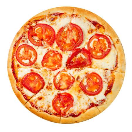 Isolated margherita tomato pizza on the white