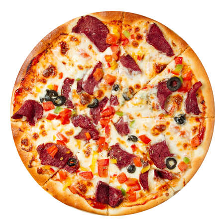 Isolated pizza with meat and vegetables on white